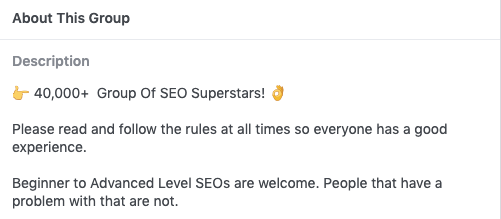Facebook SEO Group